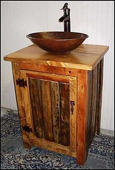 Gallery For Photographers Photo of Front View Rustic Bathroom Vanity Rustic Bathroom Vanity with Copper Vessel Sink Bathroom Remodel Pinterest Copper vessel sinks