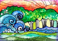 watercolor and ink landscape