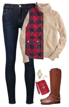 """Turtle neck sweater, checked vest & riding boots"" by steffiestaffie ❤ liked on Polyvore featuring Tory Burch, Frame Denim, J.Crew and FOSSIL"