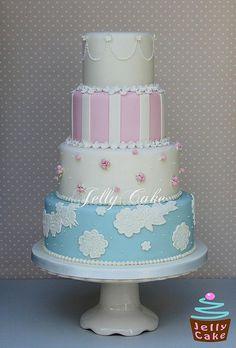 Vintage Wedding Cake by www.jellycake.co.uk, via Flickr Beautiful Wedding Cakes, Gorgeous Cakes, Pretty Cakes, Amazing Cakes, Fondant Cakes, Cupcake Cakes, Vintage Lace Weddings, Jelly Cake, Wedding Cakes With Cupcakes
