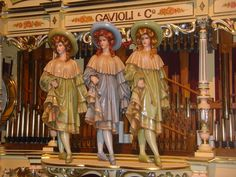 The grandest of European fairground organs were embellished with life-size figures hand-carved and painted to perfection! This trio is featured on a classic Gavioli organ near Chicago, IL.