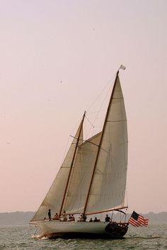 Sailing in Newport. __________ (at Newport, Rhode Island) Wooden Sailboat, Wooden Boats, Happy Birthday America, Newport Rhode Island, Sail Away, Set Sail, Tall Ships, Sailing Ships, Sailing Yachts