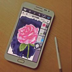 วาดภาพดอกกุหลาบบน Galaxy Note ด้วยแอพ Sketchbook Mobile