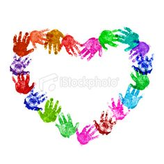 Paint multi-coloured CCD class hands in heart shape with Greatest Commandment written in the middle. Kids Crafts, Arts And Crafts, Auction Projects, Art Projects, Valentine Crafts, Valentines, Footprint Crafts, Handprint Art, Collaborative Art
