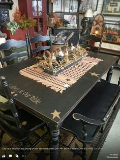 I love black furniture and the stenciling on this table is the icing on the cake!