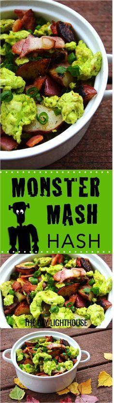 HALLOWEEN BREAKFAST | Green MONSTER MASH Hash Halloween breakfast idea and Halloween themed food | hash browns with scrabbled eggs, bacon, and more tasty goodies for a delicious breakfast that you, your husband, and the kids will love! | recipe on our website www.thediylighthouse.com
