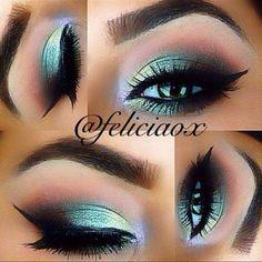 Green Winged Eyes by @feliciaox using Black Gel Eyeliner and Eyeshadow(Stylee)!   #Makeup #Eyes #Green #FirmingEyeCream Gorgeous Makeup, Pretty Makeup, Love Makeup, Makeup Inspo, Makeup Art, Makeup Inspiration, Beauty Makeup, Green Makeup, Cat Makeup