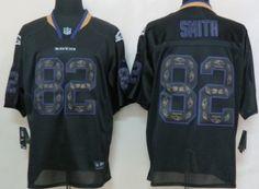 Nike Baltimore Ravens #82 Torrey Smith Lights Out Black Ornamented Elite Jersey