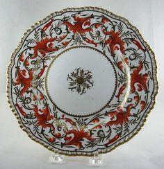 Antique Coalport plate,gadroon rim Regency style,19th century