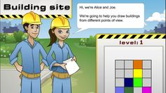 Building site: level 4 - Mathematics (6). Look at three different views of a group of buildings: a top view and two side views. Build a group of blocks to match the views shown. Rotate the scene to check the views from different angles.