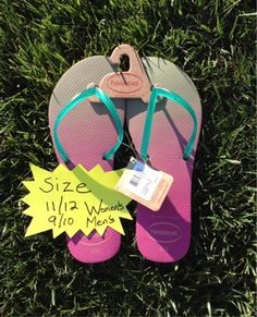 Beige/Green/Pink Havaianas Flip-Flop Sandals size 11/12 women's or 9/10 men's. Free shipping to U.S.only.