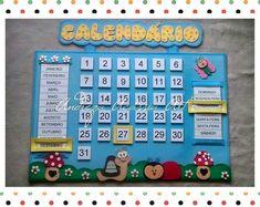 Lindo calendário feito em e.v.a. no tema jardim Diy Calender, Kids Calendar, Preschool Prep, Preschool Activities, School Wall Decoration, Diy For Kids, Crafts For Kids, Clown Crafts, English Lesson Plans