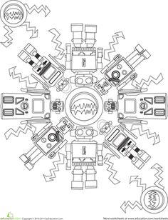First Grade Mandalas Worksheets: Robot Coloring Page