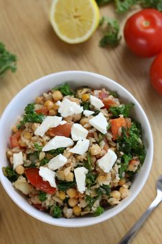 Kale and tomato brown rice bowls with feta cheese and chickpeas - easy, healthy, and delicious!