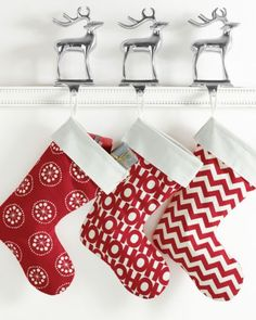 Red and White Printed Canvas Christmas Stocking