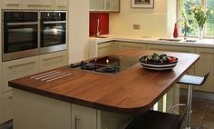 Walnut Island with hob cut-out and Stainless Steel heat bars Wide Plank, Work Tops, Kitchen Appliances, Kitchens, Walnut Worktops, Kitchen Design, Hardwood, Island, Bar
