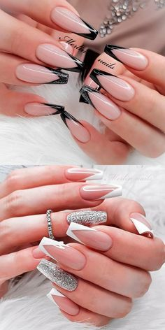 French Tip Acrylic Nails, French Tip Nail Designs, Acrylic Nails Coffin Short, Fall Acrylic Nails, Chic Nail Designs, Fancy Nails Designs, French Acrylics, Acrylic Nail Tips, French Nail Art