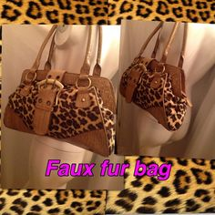 Faux fur leopard bag 15x10 Classy sophisticated and catty Bags