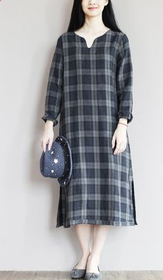 dark blue linen sundress simple unique style summer shift dresses oversize caftan