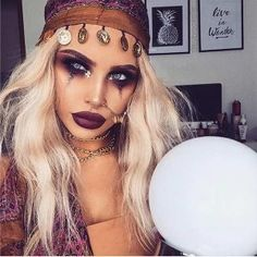 Pretty Fortune Teller Halloween Makeup and Costume
