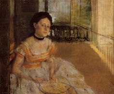 Woman Seated on a Balcony - Edgar Degas