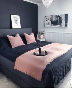 Fantastic small bedroom design ideas - It's great textures, sensible furnishings option, and also not an unimportant amount of resourcefulness. Right here are 25 motivating small bedroom ideas to attempt. Dream Rooms, Dream Bedroom, Home Bedroom, Girls Bedroom, Trendy Bedroom, Bedroom Black, Charcoal Bedroom, Pink Master Bedroom, Nice Bedrooms