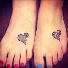 Finger Print Mother Daughter Tattoo On Foot, ##tattoo ##tattooartist ##tattoodesign ##tattooidea #genel,