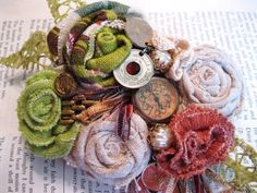 This makes my tooth hurt like wonderful candy. Textile Jewelry, Fabric Jewelry, Beaded Jewelry, Jewellery, Shabby Flowers, Fabric Flowers, Textiles, Fabric Brooch, Crazy Patchwork