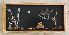Pebble Art Rock Art Pebble Art Couple Rock Art by CrawfordBunch Stone Crafts, Rock Crafts, Beach Rock Art, Art Couple, Art Rupestre, Black Love Art, Dark Art Drawings, Rock And Pebbles, Shadow Box Frames