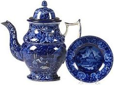Transferware-Historical Blue; Staffordshire, Lined Boy, Coffeepot, Indian View Saucer, 10 inch.