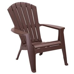 Brown Adirondack Chair $17 at Big Lots.  stackable, weather-resistant, UV-protected, high-quality molded resin for hassle-free maintenance, all-weather performance, lightweight, will not rust or rot and never needs repainted.  Weight limit: 250 lbs