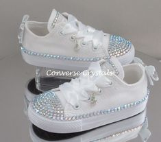 Custom Crystal Full Tongue Bling Converse by ConverseCrystals Bedazzled Converse, Bling Converse, Wedding Converse, Bling Shoes, Wedding Shoes, Sequin Shoes, White Converse, Baby Boots, Baby Girl Shoes