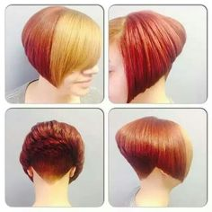 18 Ideas for hair short color blonde bangs Blonde Bangs, Red To Blonde, Blonde Color, Short Wedge Hairstyles, Stacked Bob Hairstyles, Cool Hairstyles, Hairstyle Short, Pixie Hairstyles, Hairstyle Ideas