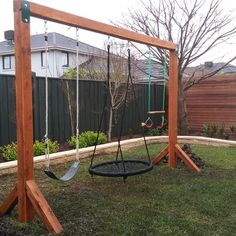 A Kindergarten Favourite, Choose From Either A Single Or Doubl… Aarons Swing Set. A Kindergarten Favourite, Choose From Either A Single Or Double Swing Set In Australian Timber Or Steel. Backyard Swings, Backyard For Kids, Backyard Projects, Outdoor Projects, Backyard Patio, Backyard Landscaping, Backyard Seating, Pergola Swing, Kids Play Yard