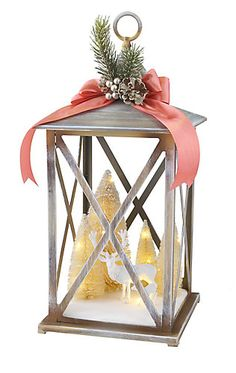 This 20 in. lantern makes a wonderful centerpiece to your woodland themed holiday décor this season. LED lights illuminate this serene scene of deer amongst the snow covered pines. A sprig and pine on top finish this lovely piece. Christmas Lanterns, Christmas Centerpieces, Christmas Crafts, Christmas Decorations, Holiday Decor, Animal Print Bedroom, How To Make Lanterns, Snow Globes, Projects To Try