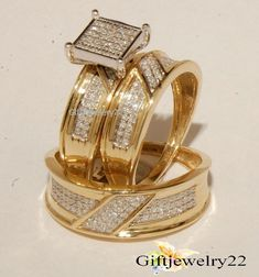 10K Yellow Gold Trio His And Her Bridal Diamond Wedding Band Engagement Ring Set #giftjewelry22