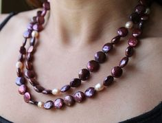 Gorgeous Double Strand Magenta Colored Coin Pearls and Pale Pink Potato Pearls Necklace  | AyaDesigns - Jewelry on ArtFire