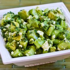 This salad with cucumber, avocado, lime, mint, and feta was a big hit when I made it recently for dinner guests, and I managed to take better photos to update the recipe too!