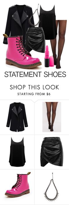 """""""pink punk statement shoes"""" by lara-darleen ❤ liked on Polyvore featuring BA&SH, Boohoo, Dr. Martens, Urbiana and MAC Cosmetics"""