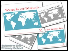 "Where In the World? Free Map Printables. (From the blogger who created this resource: ""When we do civilizations, we will mark where we are, then he will color the area we are studying."")"