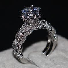 choucong Jewelry Women Bridal set ring 3ct Stone AAAAA zircon cz 925 Sterling Silver Engagement Wedding Band Ring Sz 5-11