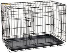OxGord 76cm Double-Door Metal Folding Pet Crate with Divider
