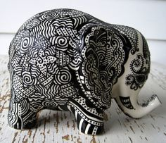 Silver finished Elephant Figurine, Intricately hand carved ...