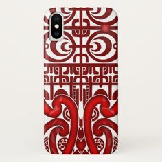 Cool symmetrical tribal Marquesas tattoo design Apple Iphone X phone case