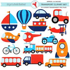 Transport Clipart Set - clip art set of transportation, vehicles, cars, train, boat - personal use, small commercial use, instant download on Etsy, $4.00