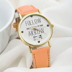 Fantastic D0J4 2016 New Arrival Leather Band Quote Follow Your Arrow Analog Quartz Vogue Wrist women Watches Free Shipping