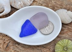 Blue And Lilac 2 Sea Glass Pieces Amethyst by BeachBountySeaGlass