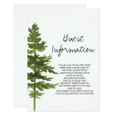 #monogrammed - #Rustic Ombre Watercolor Forest Guest Information Card