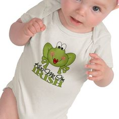 This is a cute design for the wee people who celebrate Saint Paddy's Day! Kiss Me I'm Irish comes in many different styles of onsies and t-shirts for babies and children
