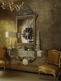 entrances/foyers - mirrored console chandelier gold silk French chairs venetian mirror Venetian mirror, gold silk chairs, mirrored console table,